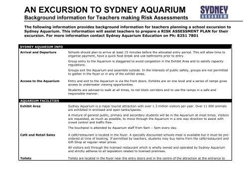 Download the Risk Assessment form - Sydney Aquarium