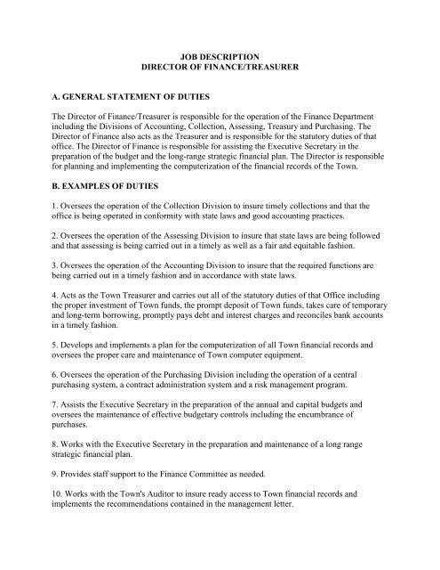Treasurer Job Description Template Workable11 Treasurer Job
