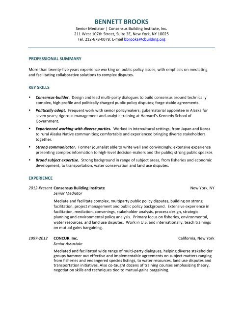BENNETT BROOKS - Consensus Building Institute