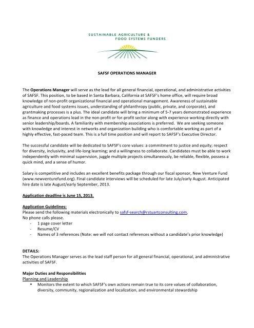 SAFSF Operations Manager Job Description FINAL