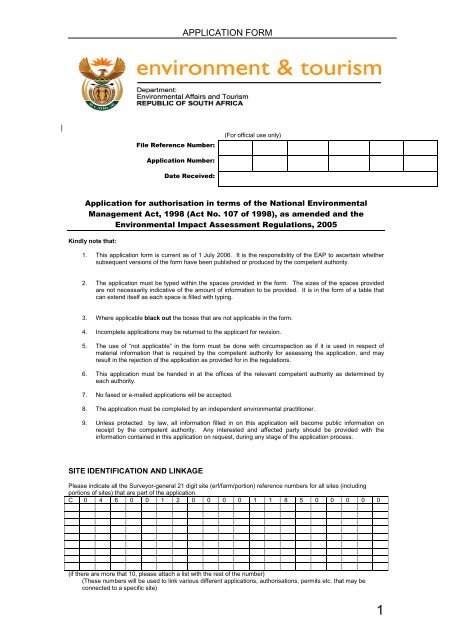 2 Basic Assessment Application Form - Transnet