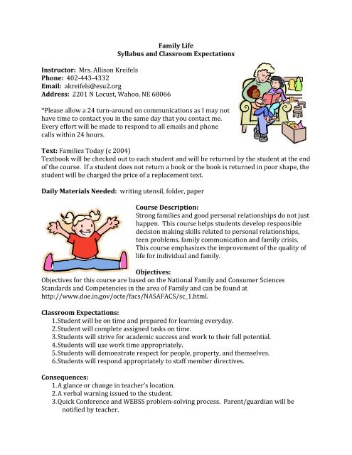 Family Life Syllabus and Classroom Expectations Instructor Mrs