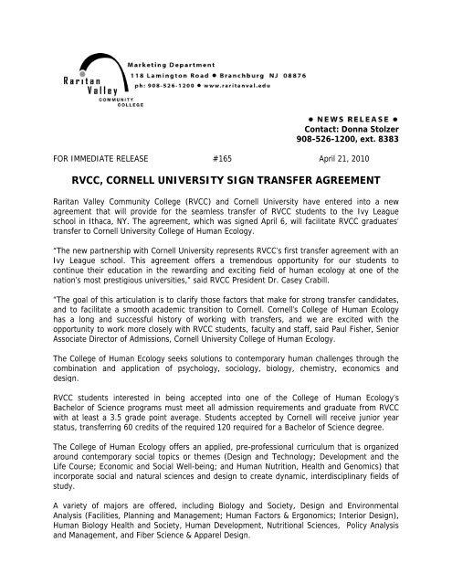 rvcc, cornell university sign transfer agreement - Raritan Valley