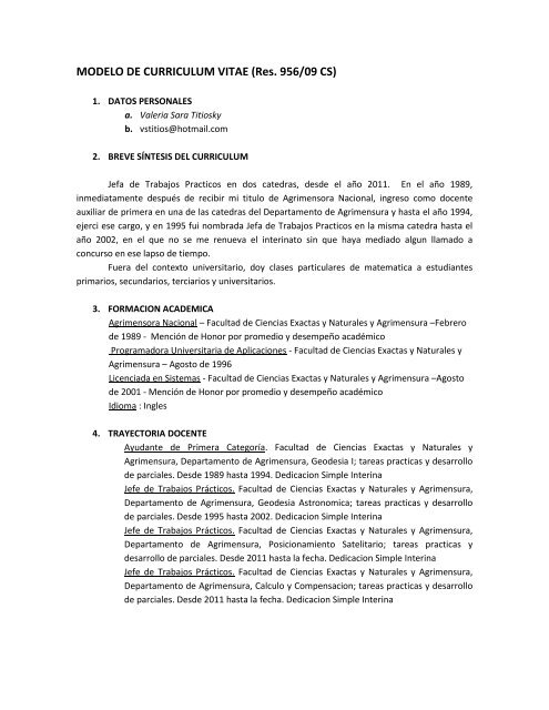 MODELO DE CURRICULUM VITAE (Res