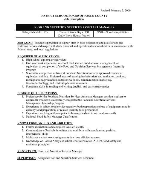 FNS Assistant Manager Job Description - Pasco County Schools