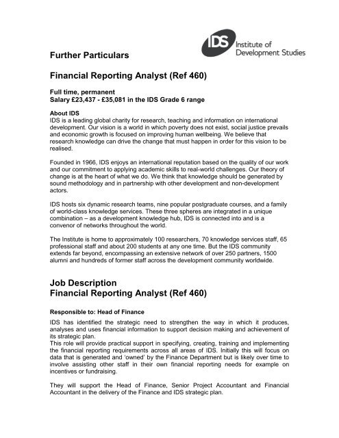 Job Description Financial Reporting Analyst (Ref 460) - Institute of