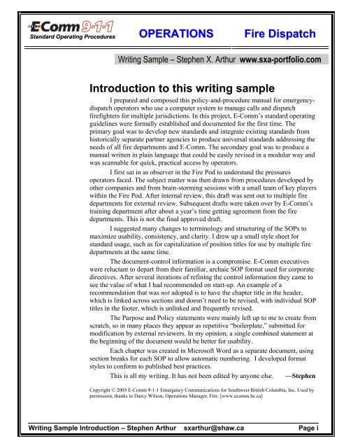 Writing sample - technical writer - operating - Sxa-portfolio