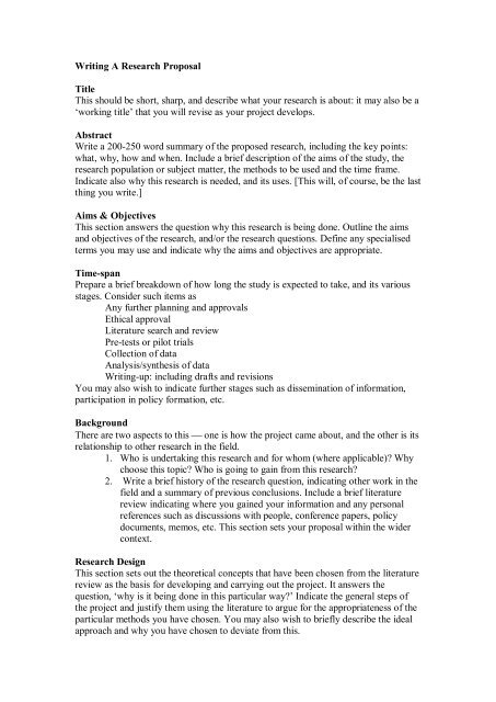 Research Proposals (i)