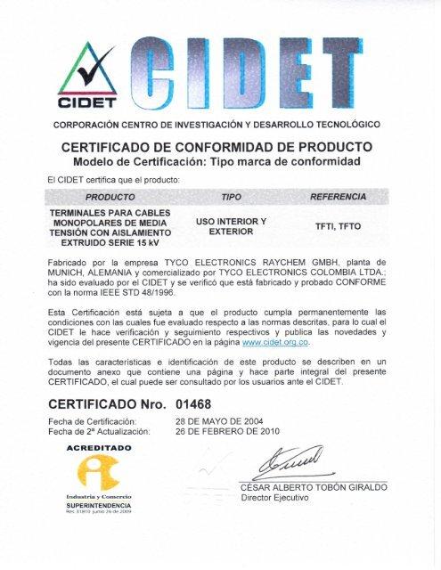 CERTIFICADO DE CONFORMIDAD DE PRODUCTO Modelo de
