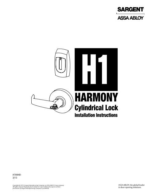 Harmony H1 Cylindrical Installation Instructions - Access Control