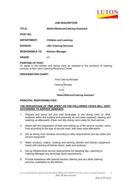 JOB DESCRIPTION TITLE Waiter/Waitress/Catering Assistant POST