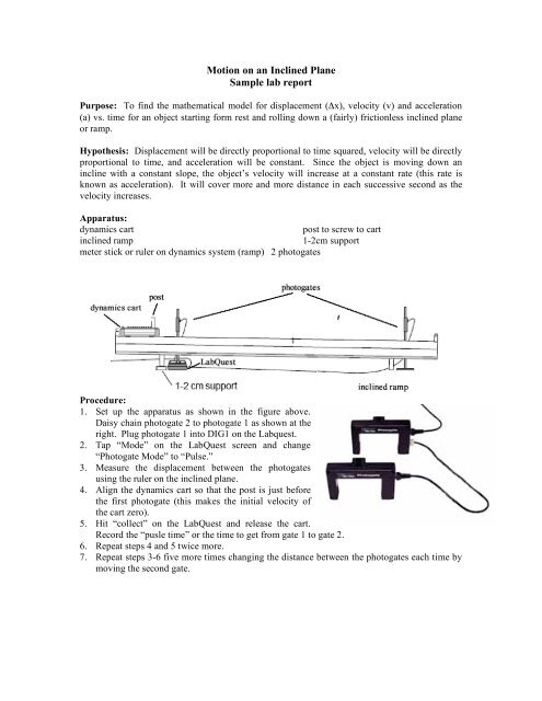 Motion on an Inclined Plane Sample lab report