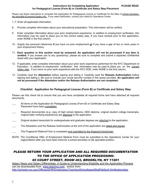 Application for Pedagogical License (Form B) - United Federation of