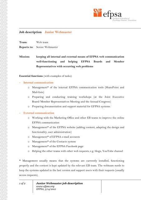 Junior Webmaster - EFPSA