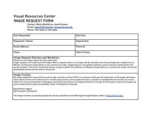 Digital Image Request Form - RISD  Fleet Library
