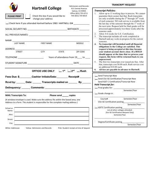 Transcript Request Form - Hartnell College