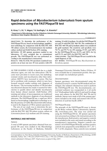 Rapid detection of Mycobacterium tuberculosis from sputum