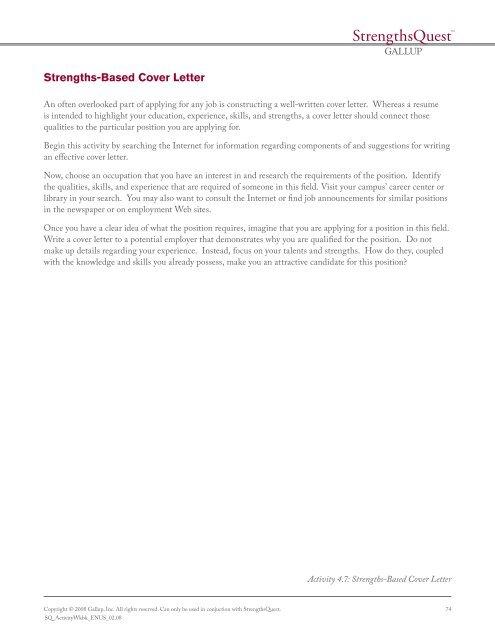 Strengths-Based Cover Letter