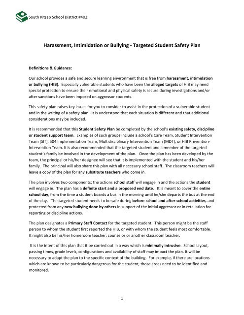 Targeted Student Safety Plan Template - South Kitsap School District