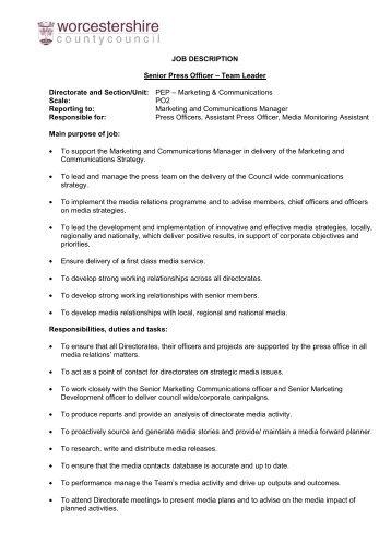 senior marketing officer job description - Josemulinohouse