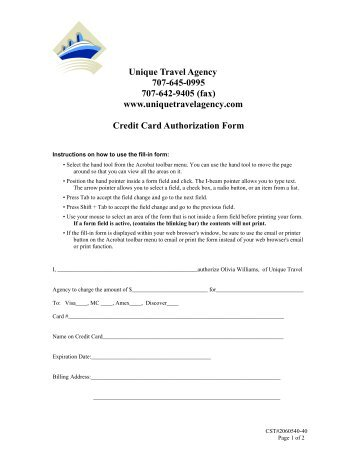 travel agent credit card authorization form - Pinephandshakeapp - credit card authorization forms
