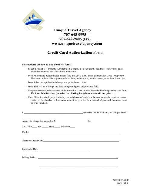 Unique Travel Agency Credit Card Authorization Form