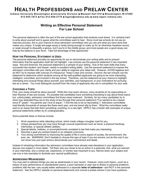 Writing an Effective Personal Statement for Law School - Health