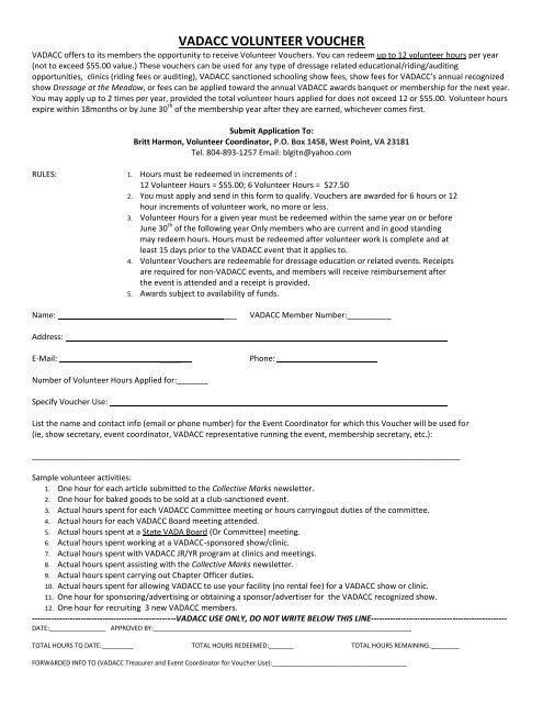 Volunteer Cash Voucher Form - vadacc