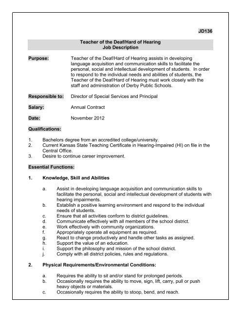 JD136 Teacher of the Deaf/Hard of Hearing Job Description