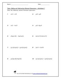 Adding And Subtracting Rational Expressions Worksheet And ...