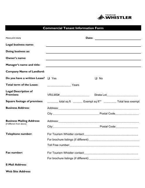 Commercial Tenant Information Form - Tourism Whistler Member