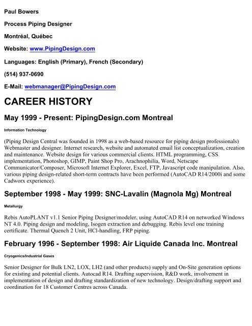 Resume - Paul Bowers, Senior Piping Designer - PipingDesign