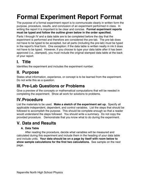 formal experiment report format - Naperville Community Unit School