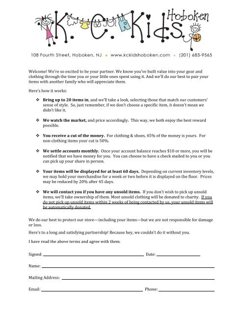 Consignment Agreement - KC Kids