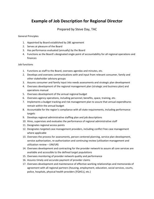 Example of Job Description for Regional Director