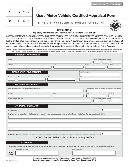 14-128 Used Motor Vehicle Certified Appraisal Form - Texas