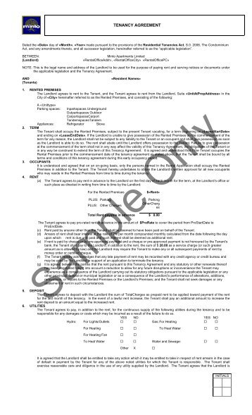 Sample Tenancy Agreement Doc. Printable Sample Rent Agreement Form