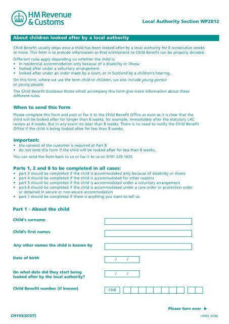 CH193 Scot - Notification of a child admitted to - Revenue Benefits