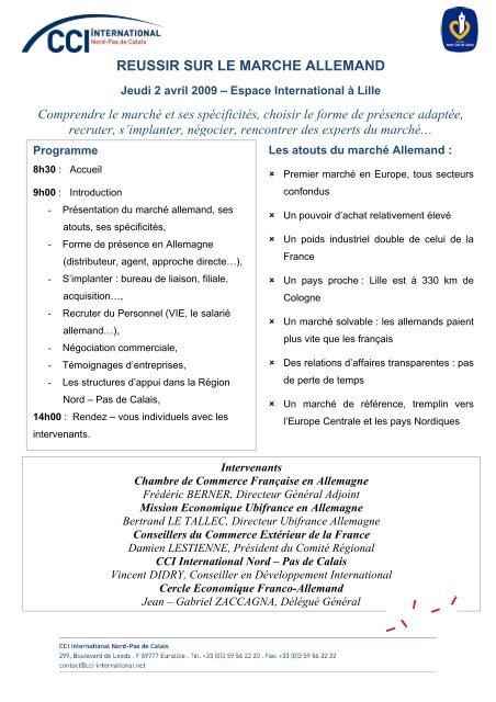inscription - Cercle Economique franco-allemand du Nord-Pas de - Chambre De Commerce Franco Allemande