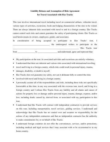 Sample release of liability - release agreement