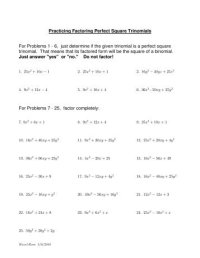Perfect Square Trinomial Worksheet. Worksheets. Ratchasima ...