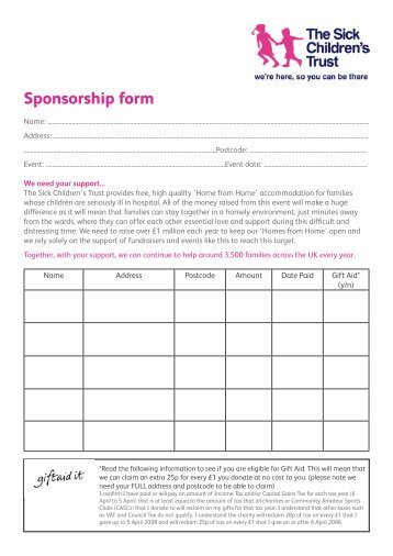 Sponsorship form templates - charity sponsor form template