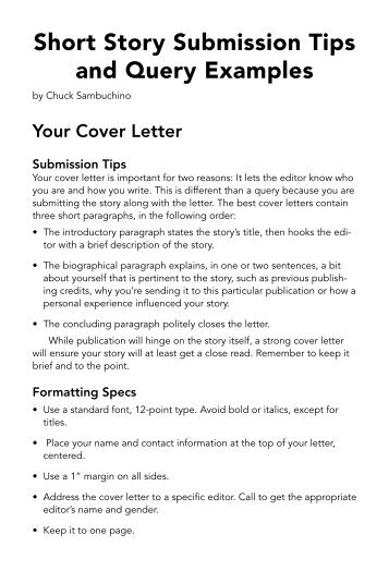 cover letter for short story - Pinarkubkireklamowe
