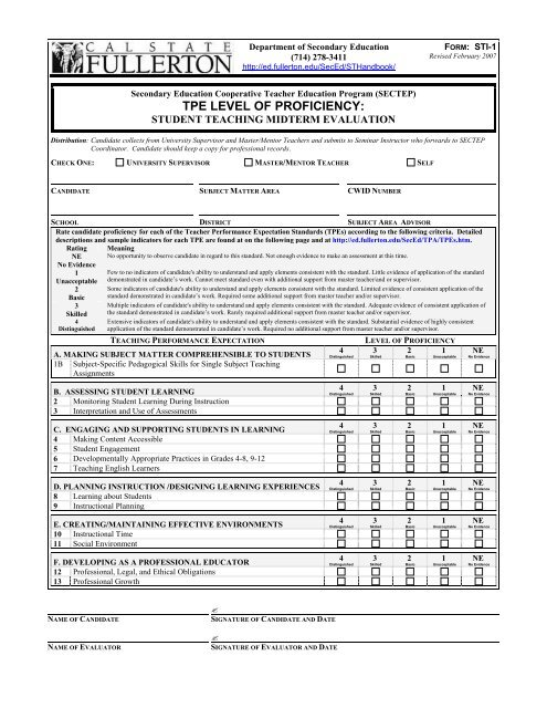 EDSC Student Teaching Midterm Evaluation Form (STI-1)