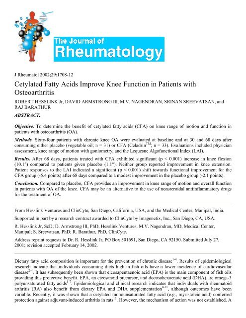 Cetylated Fatty Acids Improve Knee Function in Patients - Unicity