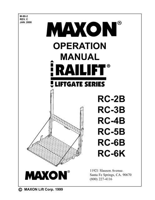 OPERATION MANUAL RC-2B RC-3B RC-4B RC-5B RC-6B - Maxon