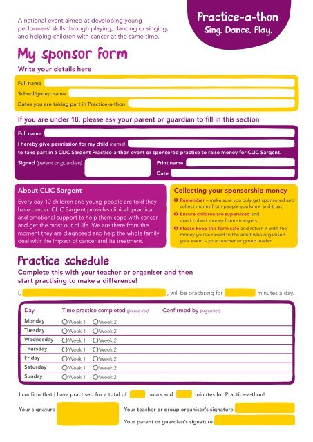 Practice-a-thon sponsor form - CLIC Sargent