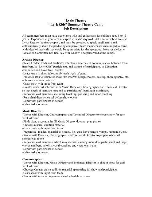 Lyric Theatre â\u20acœLyricKidsâ\u20ac Summer Theatre Camp Job Descriptions