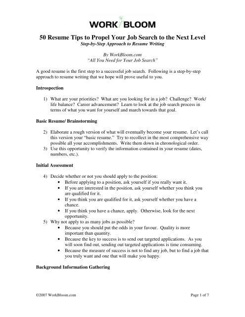 WorkBloom\u0027s 50 Resume Tips