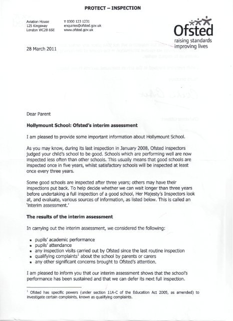 Ofsted\u0027s interim assessment letter to parents - Hollymount School